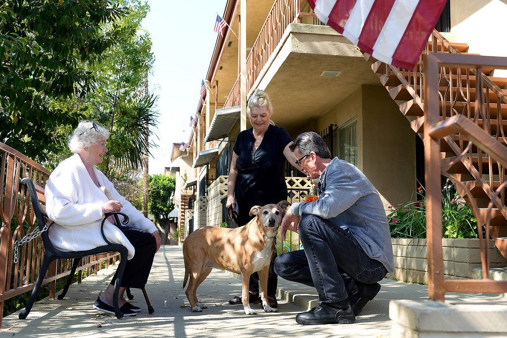 . From left, apartment owner Judy Guth, tenant Mary Ricketts, with her dog Sadie, and apartment manager Jerry Schiess at Guth\'s North Hollywood apartment that requires tenants to have pets, Wednesday, February 19, 2014. (Photo by Michael Owen Baker/L.A. Daily News)