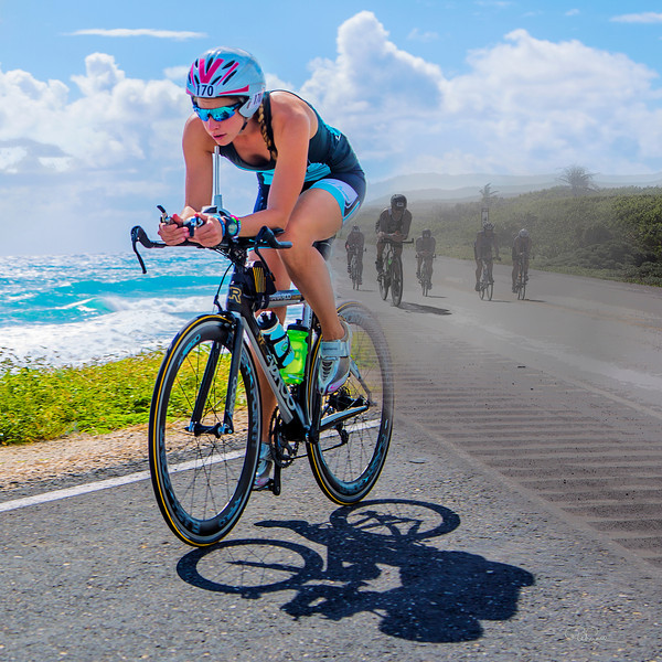 Breaker Breaker: One racer breaks from the pack against a background of lush aqua-colored breakers along the Playa Oriente during the cycling stage of the 2013 Ironman Cozumel. This image has a square format and cannot be cropped to create a rectangular print.