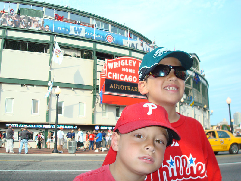 The biggest (or maybe the littlest?) Phillies fans at Wrigley.