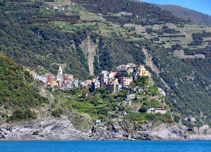 View of the village of Corniglia from the ferry