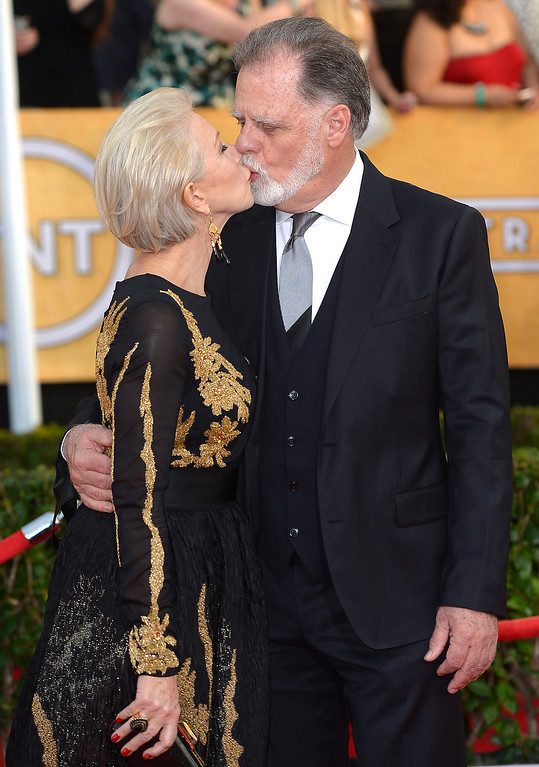 . Helen Mirren and Taylor Hackford arrives at the 20th Annual Screen Actors Guild Awards  at the Shrine Auditorium in Los Angeles, California on Saturday January 18, 2014 (Photo by Michael Owen Baker / Los Angeles Daily News)