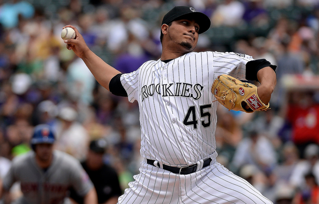 . Colorado Rockies starting pitcher Jhoulys Chacin (45) delivers a pitch during the first inning against the New York Mets May 4, 2014 at Coors Field. (Photo by John Leyba/The Denver Post)