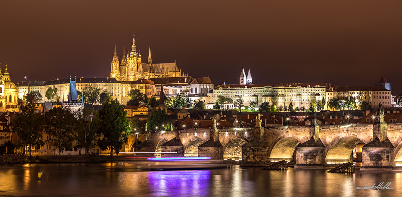 Prague Castle, Charles Bridge and the Vltava  River