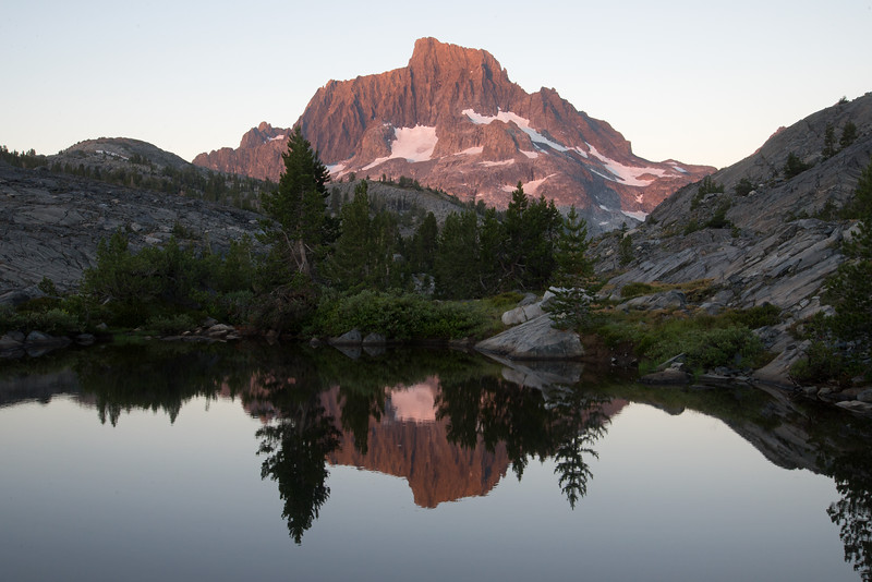 First light touches Banner Peak in the Ansel Adams Wilderness.