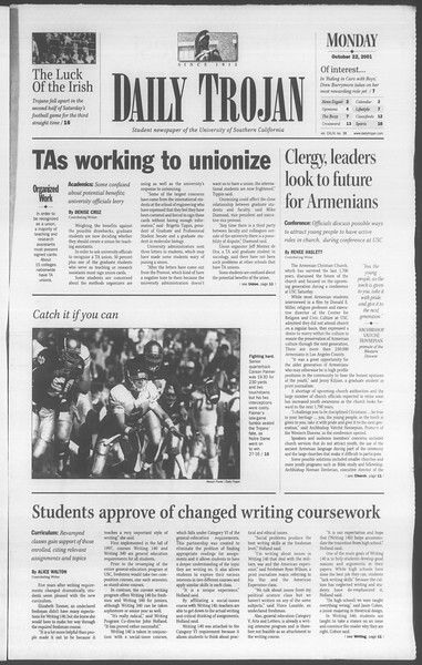 Daily Trojan, Vol. 144, No. 38, October 22, 2001