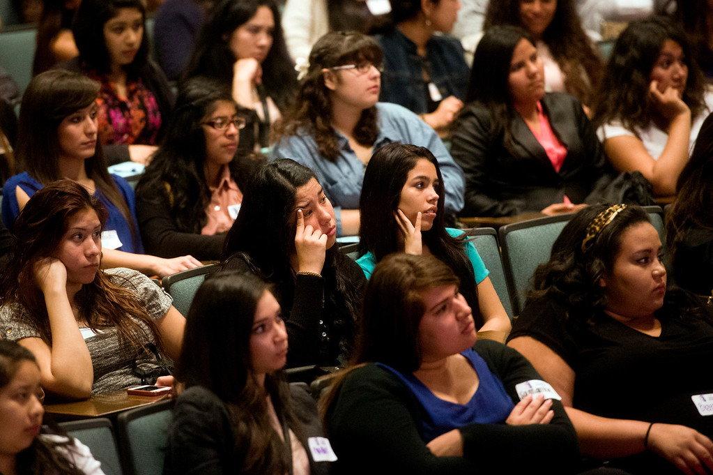 . About 300 students and visitors listen to keynote speaker Telemundo news anchor Dunia Elvir during Women\'s History Conference at Rio Hondo College in Whittier on Friday, March 7, 2014. The conference, themed �Women Inspiring Hope and Possibility,� is a joint venture with the Whittier Union High School District and Soroptomist International of Whittier. (Photo by Watchara Phomicinda/San Gabriel Valley Tribune)