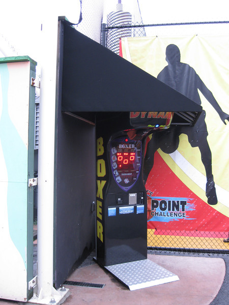 The punching bag game was now next to 3-Point Challenge.