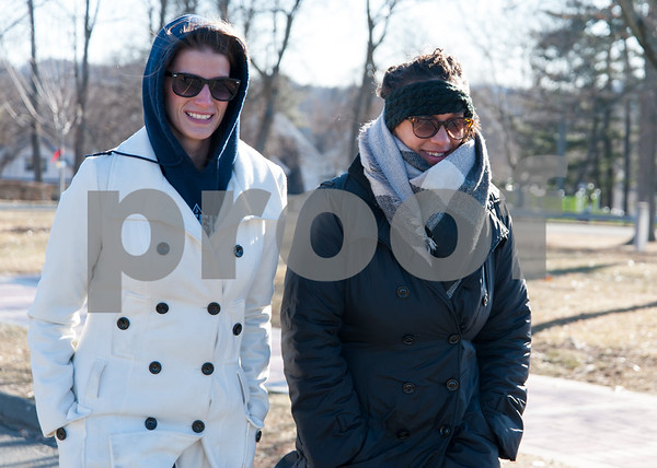 02/05/18 Wesley Bunnell   Staff Kim Duncan and Kaylah Smith of The Community Foundation of Greater New Britain take their daily walk all bundled up against the cold weather in Walnut Hill Park on Monday afternoon.