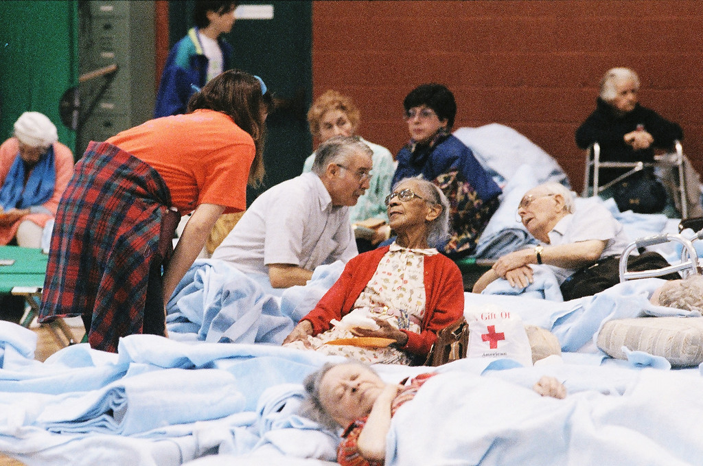 . Senior citizens from three different convalescent homes in the Santa Clarita Valley were housed in the Boys and Girls Club gym in Newhall.   Los Angeles Daily News file photos