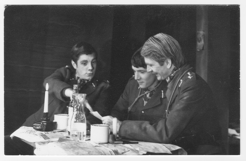 Andrew Pearson, Ed Nally and John Thewlis in 'Journey's End', 1975