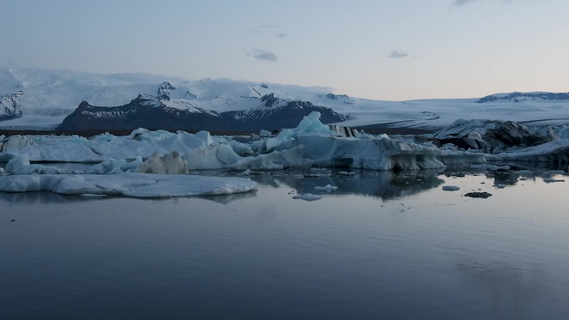 Available in 4k - Nocturnal timelapse video showing calved icebergs floating on the Jökulsárlón glacial lagoon in Iceland