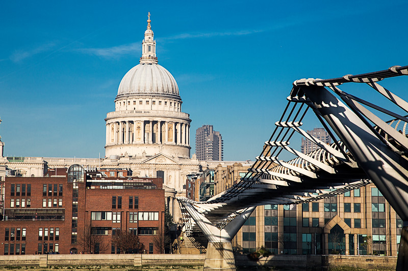 St Pauls Cathedral and The Millenium Bridge, London