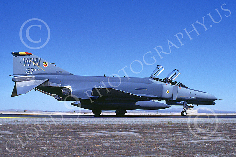 F-4USAF 00379 A taxing McDonnell Douglas F-4G Phantom II USAF 69263 37th TFW Wild Weasel WW code George AFB 9-1989 military airplane picture by Michael Grove. Sr..JPG