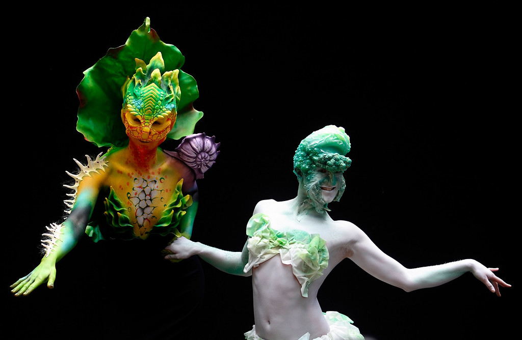 . Models pose during the annual World Bodypainting Festival in Poertschach July 5, 2013. The world\'s biggest bodypainting event takes place from July 5 to 7 at Lake Woerthersee in Austria\'s southern Carinthia province. REUTERS/Heinz-Peter Bader