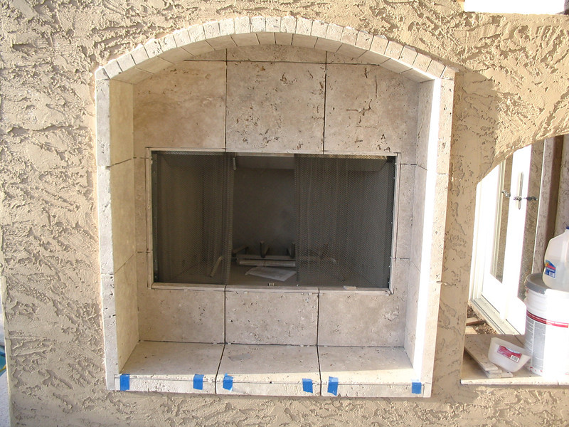 The fireplace, after it was tiled but before it was grouted.