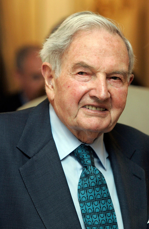 . FILE - In this May 15, 2007, file photo, David Rockefeller participates in the C40 Large Cities Climate Summit in New York. The billionaire philanthropist who was the last of his generation in the famously philanthropic Rockefeller family died Monday, March 20, 2017, according to a family spokesman. He was 101 years old. (AP Photo/Richard Drew, File)