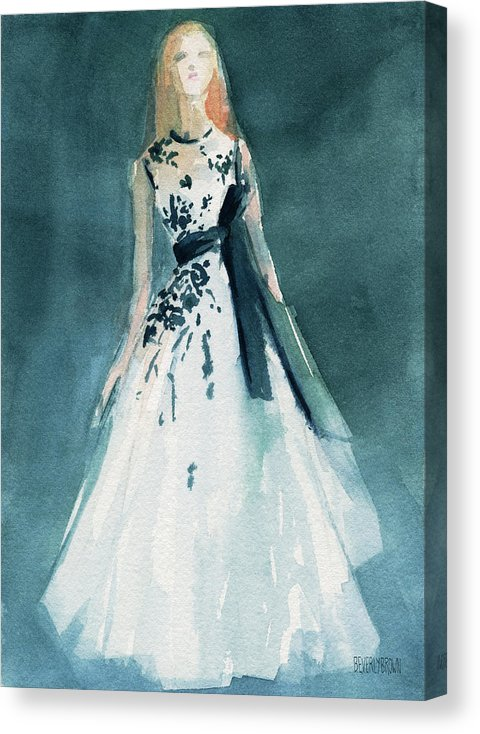 Teal and White Glam Fashion Canvas Print by Beverly Brown