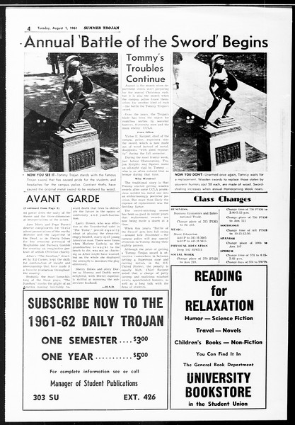 Summer Trojan, Vol. 11, No. 12, August 01, 1961