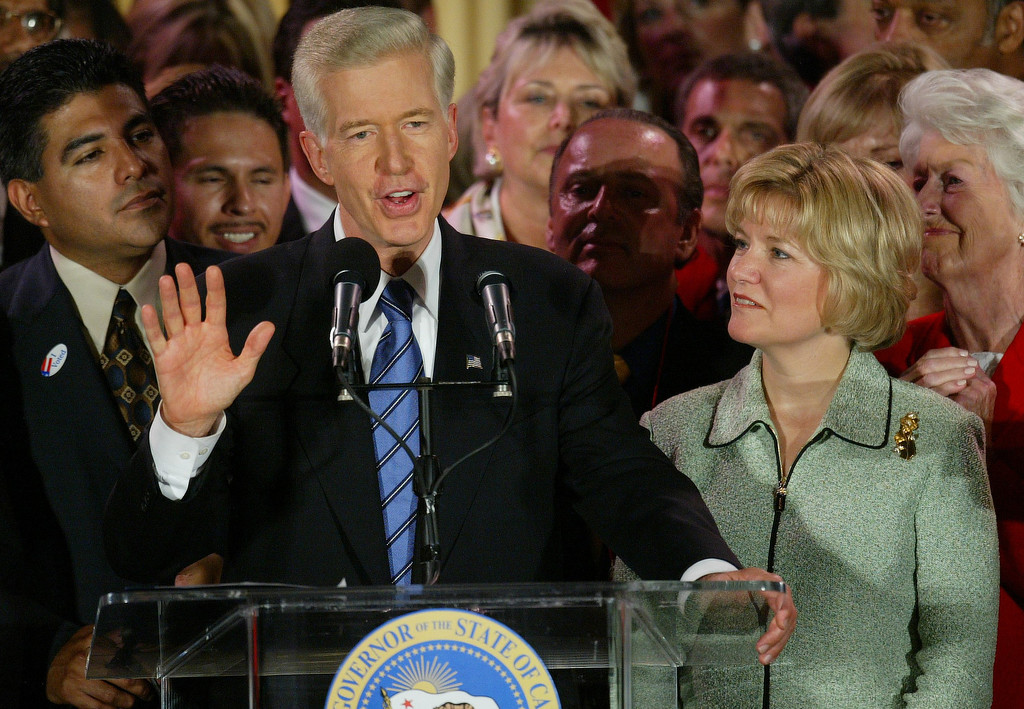 . 10/7/03- Los Angeles, CA  Governor Gray Davis waves and speaks to his supporters in the Crystal Ballroom of the Biltmore Hotel in Los Angeles where he urged no on another recall. John Lazar/L.A. Daily News