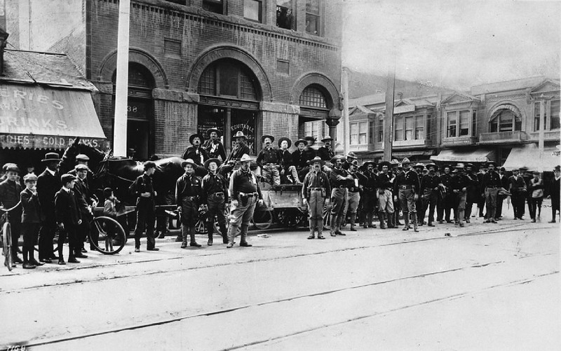 "Portrait of veterans ""Teddy's Terrors"" at First Street and Broadway, Los Angeles, ca.1904"