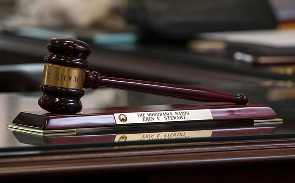 12/31/19 Wesley Bunnell | StaffrrThe gavel on Mayor Erin Stewart's desk during an interview with reporter Catherine Shen on Tuesday December 31, 2019.
