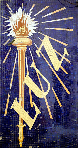 """Glazed ceramic mosaic from an electric shop, the sign says """"Luz"""" (light), town of Barcelona, autonomous commnunity of Catalonia, northeastern Spain"""
