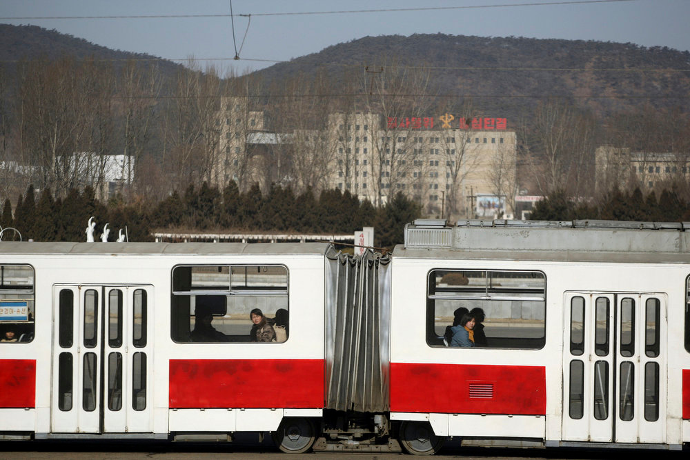 . North Korean commuters ride in a train in Pyongyang, North Korea on Feb. 27, 2008.  (AP Photo/David Guttenfelder)