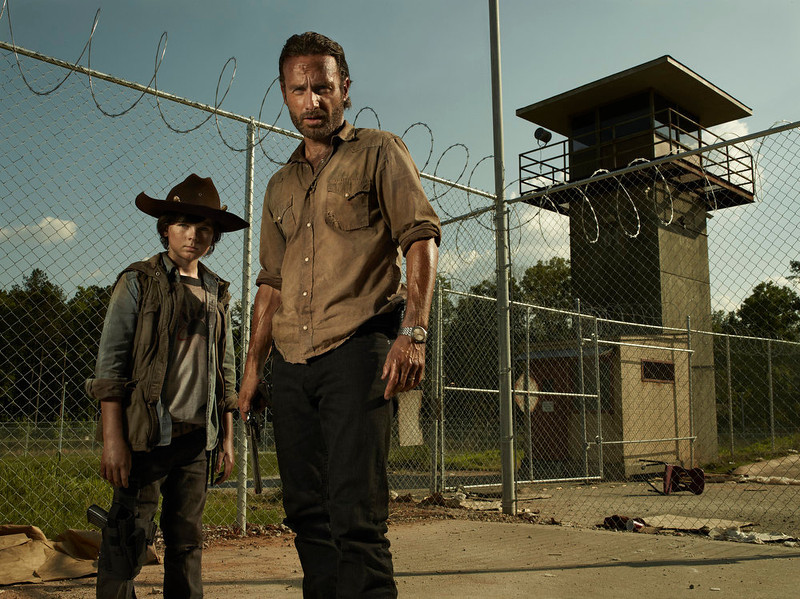 . Carl Grimes (Chandler Riggs) and Rick Grimes (Andrew Lincoln) - The Walking Dead  - PHoto Credit: Frank Ockenfels/AMC