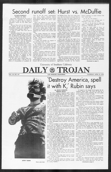 Daily Trojan, Vol. 61, No. 107, April 16, 1970