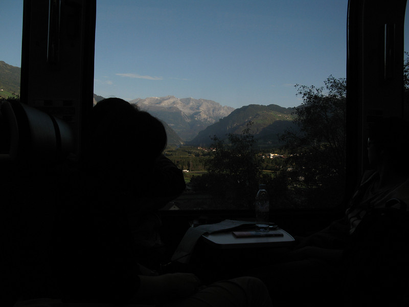 View of the mountains from the Bernina Express train