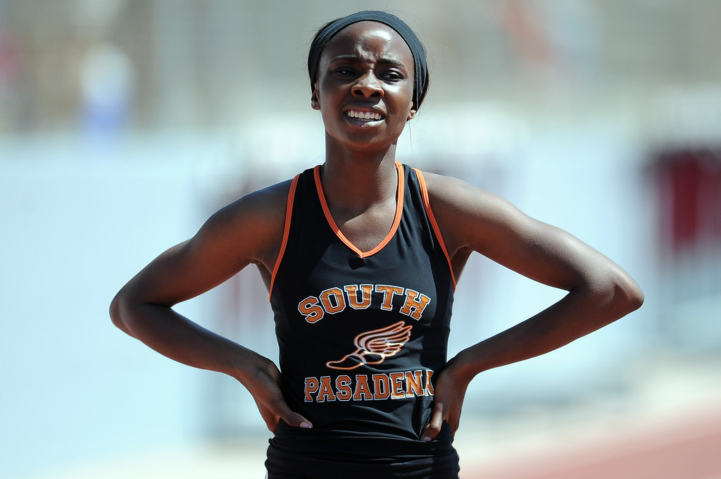 . South Pasadena\'s Laura Anuakpado wins the 400 meters race during the CIF-SS track & Field championship finals in Hilmer Stadium on the campus of Mt. San Antonio College on Saturday, May 18, 2013 in Walnut, Calif.  (Keith Birmingham Pasadena Star-News)
