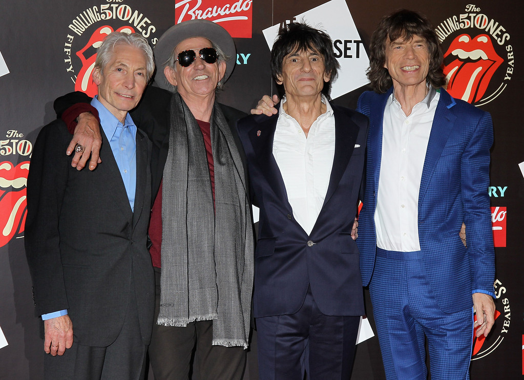 . L-R Charlie Watts, Keith Richards, Ronnie Wood and Mick Jagger attend as The Rolling Stones celebrate their 50th anniversary with an exhibition at Somerset House on July 12, 2012 in London, England.  (Photo by Chris Jackson/Getty Images)