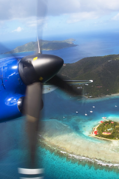 Flying over the Caribbean.