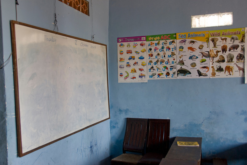 Whiteboard inside an Orphanage Classroom in Phnom Penh, Cambodia