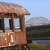 Ole train car and the Harbor Bridge