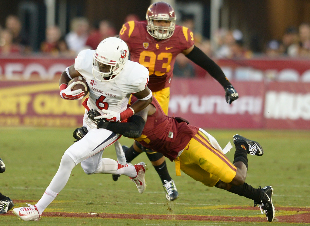 . Fresno Delvon Hardaway gets yards. USC defeated Fresno State 52-13 at the Los Angeles Memorial Coliseum. Los Angeles, CA. 8/30/2014(Photo by John McCoy Daily News