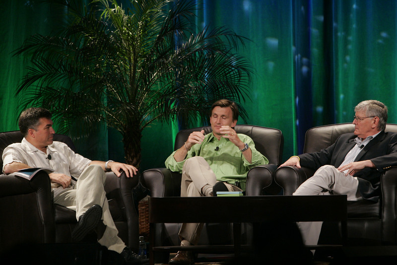 """""""Trading Carbon Credits: What's Next, and Who Benefits?"""": (L-R) Host Martin Tobias, past CEO, Imperium Renewables; Erik Blachford, CEO, TerraPass; and David Morris, chair and president of EcoVerdance, the FiRe 2008 Spotlight Company"""