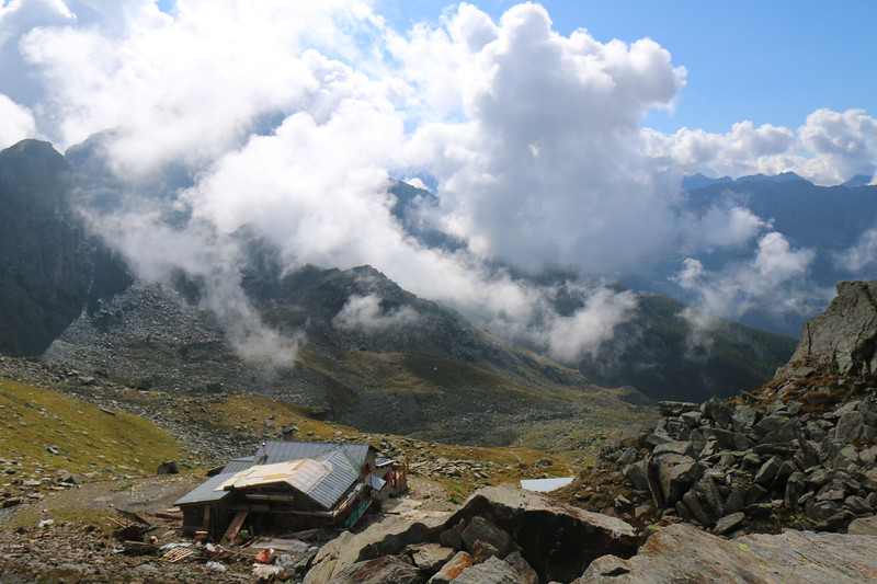View of construction on Rifugio Carate Brianza from pass
