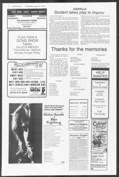 Summer Trojan, Vol. 72, No. 13, August 17, 1977
