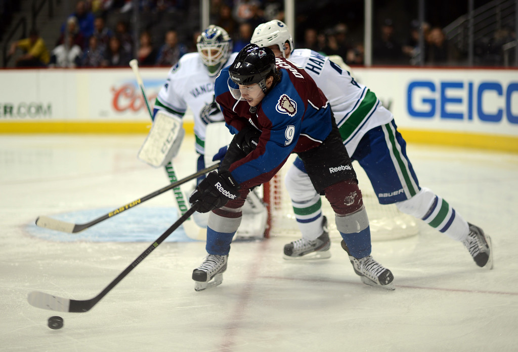 . DENVER, CO. - APRIL 13 : Matt Duchene of Colorado Avalanche (9) is in action in the 1st period of the game against Vancouver Canucks at Pepsi Center. Denver, Colorado. April 13, 2013. Colorado won 4-3. (Photo By Hyoung Chang/The Denver Post)