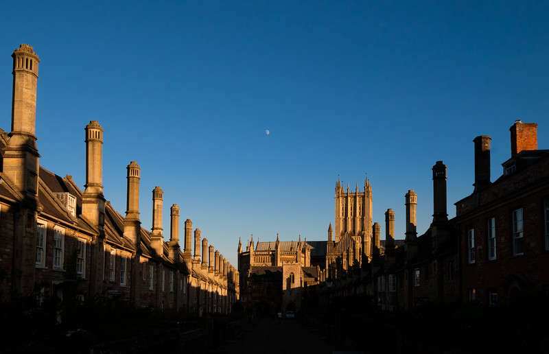 Moon over Vicar's Close and the Wells Cathedral
