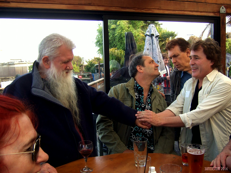 Ron Turner (publisher), left; Jack Boulware (Litquake), 2nd on left; ?, 2nd on right; ?, right; - Mark Rennie and his friend Michelle's birthday party at Bayview Boat Club
