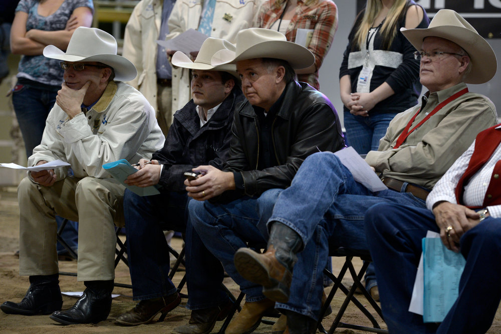 . DENVER, CO- JANUARY 24:    Members of the Executive Livestock Committee watch the judging of the junior market beef grand champion.  They are from left to right:  Justin Cumming, Joe Epperly, and Mark Anderson, second from right, who is the Vice Chair of the ELC, inside the Stadium Arena. The Junior market beef grand champion and reserve grand   champion were chosen in the Stadium Arena at the National Western Stock Show on January 24th, 2013.  The two large mixed breed steer will be auctioned off January 25th. (Photo By Helen H. Richardson/ The Denver Post)