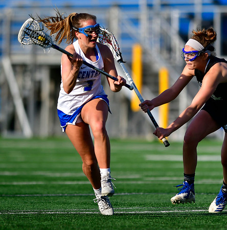 3/14/2019 Mike Orazzi | Staff CCSU's Carson Adelberger (3) during Thursday's women's lacrosse in New Britain.