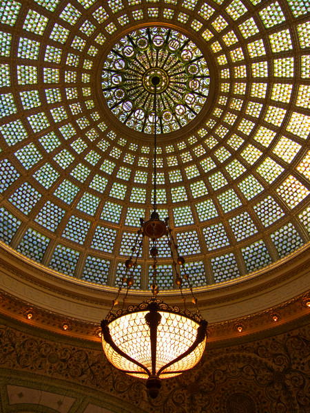 Glass Dome and Lamp, Chicago Cultural Center