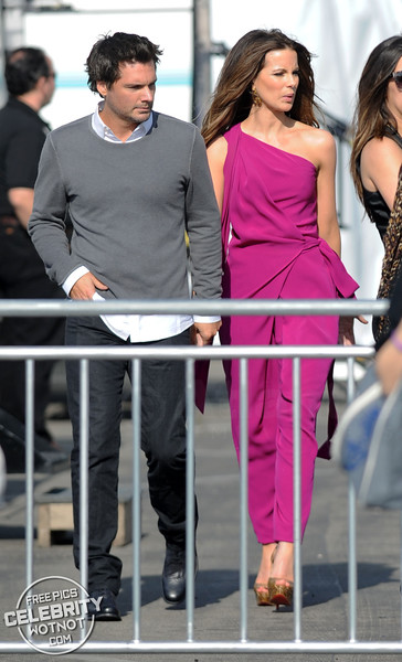 Kate Beckinsale In Bright Purple DVF Jumpsuit With Len Wiseman