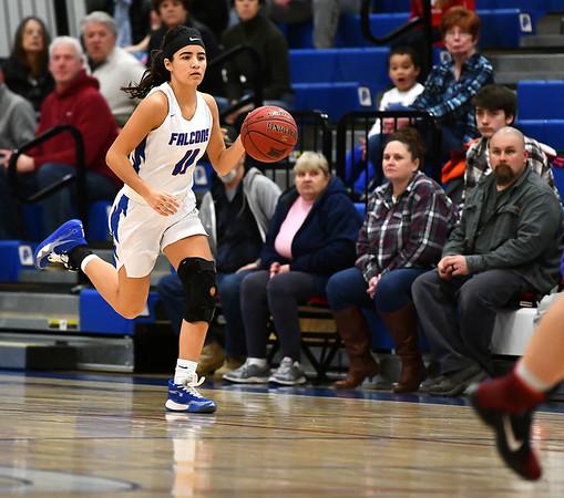 2/7/2020 Mike Orazzi | StaffrSt. Paul's Janessa Gonzalez (11) during Friday night's girls basketball game with Wolcott in Bristol.