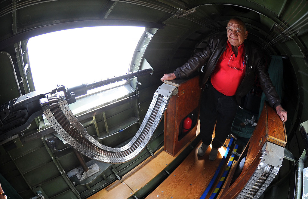 """. LONG BEACH - 03/25/2013  (Photo: Scott Varley, Los Angeles Newspaper Group)  The Liberty Foundation\'s Boeing B-17 \""""Memphis Belle\"""" is one of only 13 B-17\'s still flying today out of nearly 13,000 built for service in World War II. The \""""Memphis Belle\"""" will be at Long Beach Airport for Saturday flights and tours and it took a few people for a quick tour over Long Beach on Monday.  Laurence R. Stevens, 88, from Temple City flew 35 B-17 missions in WWII as a tail gunner and was given the chance to fly again on Monday."""