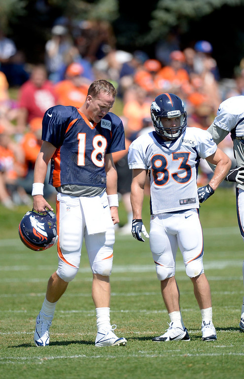 . Denver Broncos QB Peyton Manning and WR Wes Welker (83) look on during training camp August 12, 2013 at Dove Valley. (Photo By John Leyba/The Denver Post)