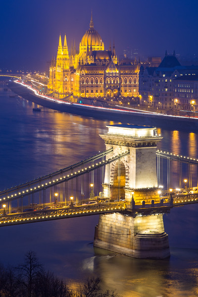Parliament and Chain Bridge from Buda Castle